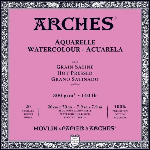 Akvarellblock Arches HP 300gsm 20x20 cm 20ark.