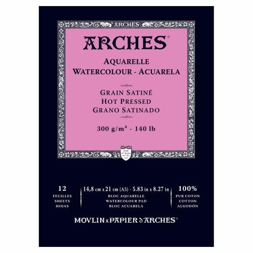 Akvarellblock Arches HP 300g A5 12ark. (3F)