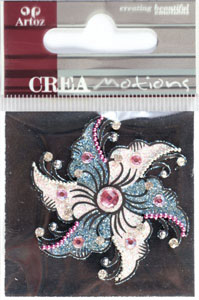 Creamotion Strass flower blue/pink (6F) Best. vara