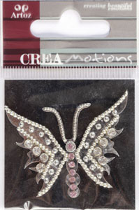 Creamotion Strass butterfly silver/pearl (6F) Best. vara