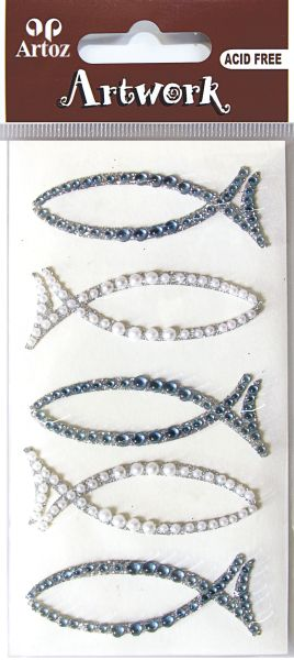 Art-Work: Fish  blue perl glitter (6F)