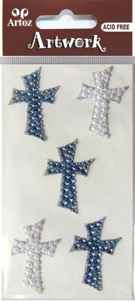 Art-Work: cross blue perl glitter (6F)