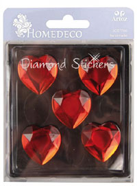 HomeDeco Diamond Sticker heart red big (6F)