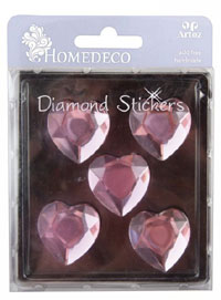 HomeDeco Diamond Sticker heart pink big (6F)