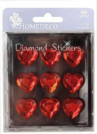HomeDeco Diamond Sticker heart red sm (6F)
