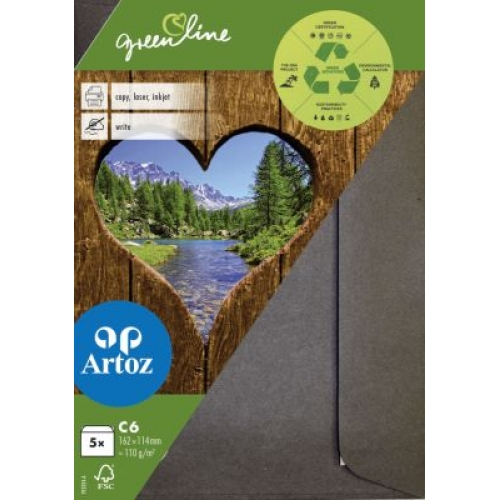 Kuvert Green Line C6 Ofodr. 5-p 118g Granit 218 (12F) Best. vara