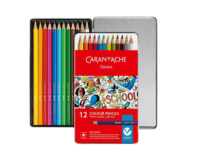 Skolset Caran d´Ache Watersoluble metall colour pencils 12 pcs