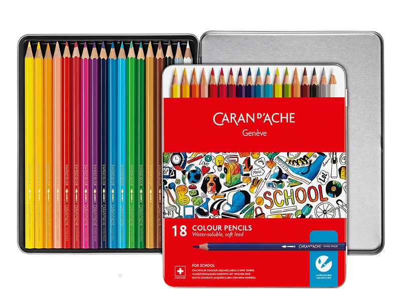 Skolset Caran d´Ache Watersoluble metall colour pencils 18 pcs