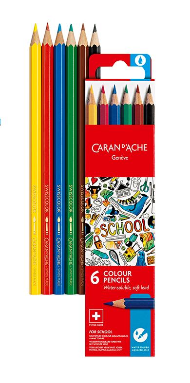 Skolset Caran d´Ache Watersoluble color pencils 6 pcs