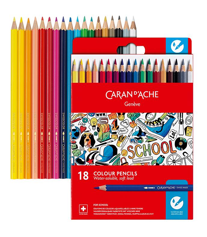 Skolset Caran d´Ache Watersoluble color pencils 18 pcs