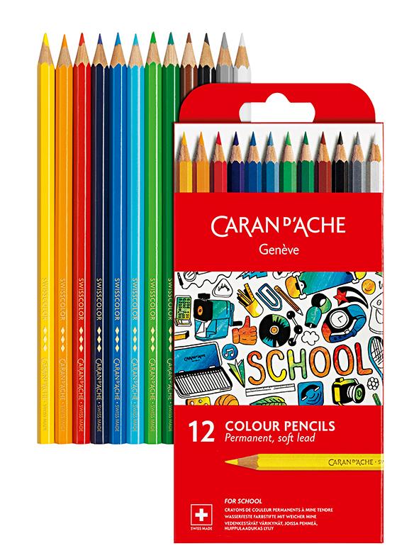 Skolset Caran d´Ache Permanent color pencils 12 pcs