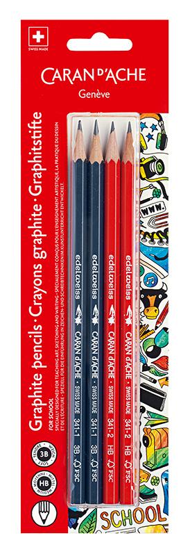 Skolset Caran d´Ache Blister 4 graphite pencils 3B-HB