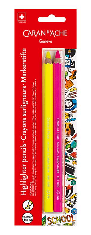 Skolset Caran d´Ache Blister 2 Maxi fluo pencils