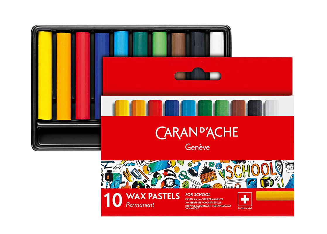 Skolset Caran d´Ache 1/2 permanent wax color crayon 10 pcs