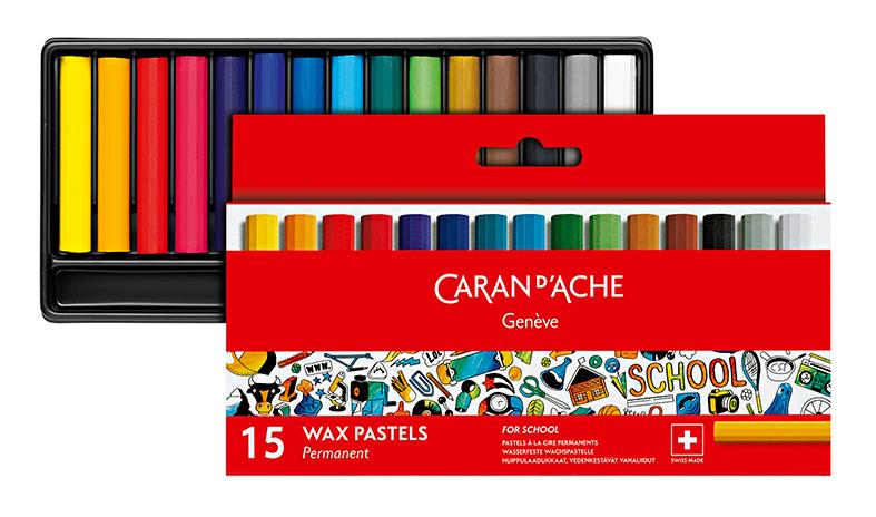 Skolset Caran d´Ache 1/2 permanent wax color crayon 15 pcs