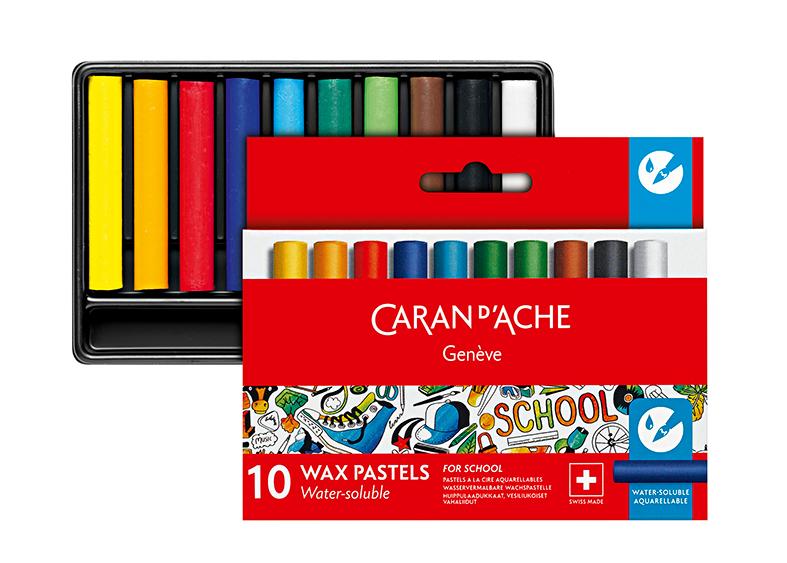Skolset Caran d´Ache 1/2 watersoluble wax color crayon 10 pcs
