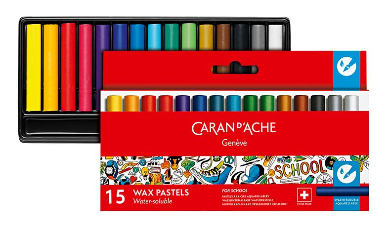 Skolset Caran d´Ache 1/2 watersoluble wax color crayon 15 pcs
