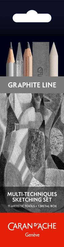 Sketchset Caran d´Ache Artist Multi-tech 11 delar plåtskrin