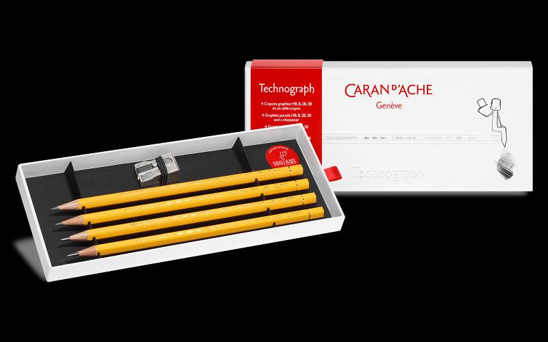 Blyertspennset Caran d´Ache Technograph 4 pennor + vässare