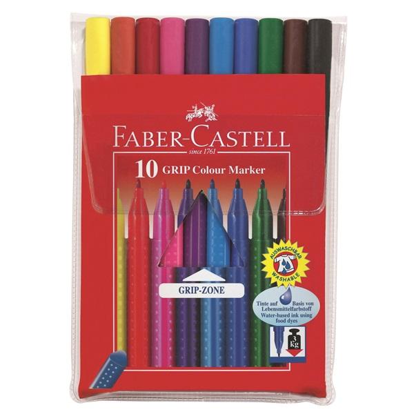 Fiberfärgpennset Faber-Castell Redline 10 Grip Colour Marker (10F)
