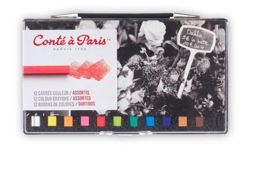 Pastellkritset Conté á Paris Carre Assorted 12 st ask