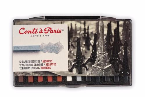 Pastellskisset Conté á Paris Plastic Box x12 sketching Carres