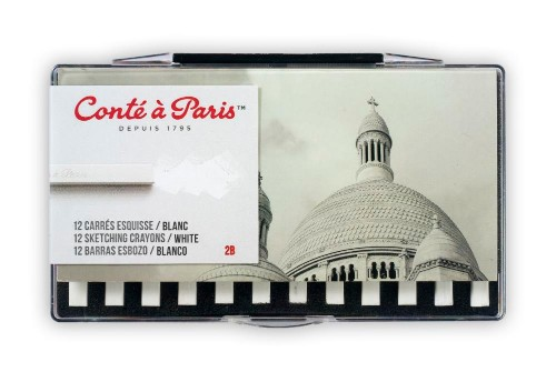 Pastellkritset Conté á Paris Carre Sketching set White 2B