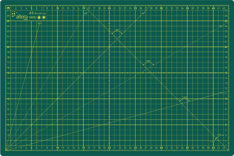 Skärmatta Altera HOBBY Line CMH-GG A3 - 3mm - Enkelsidig Grön