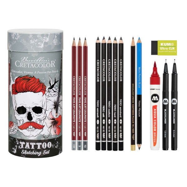 Pennset Cretacolor Tattoo Sketching set 14 delar