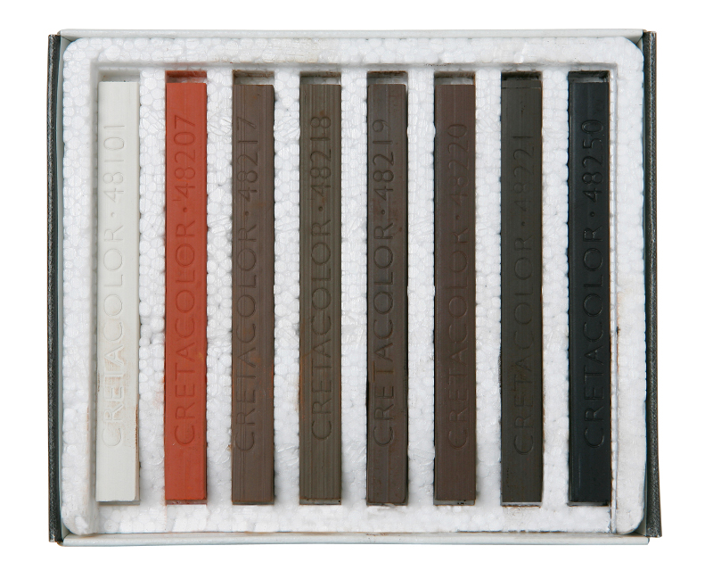 PastellKritset Cretacolor Set med 8st kritor. Brun/Röd