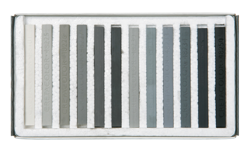 PastellKritset Cretacolor Set med 12st kritor. Gråskala.