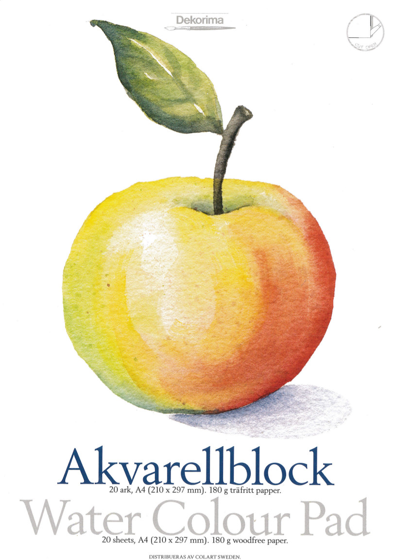 Akvarellblock Dekorima äpple 20ark 180g A5 (10F) Utgår