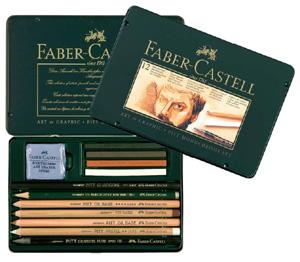 Ritkolspennset Faber-Castell PITT MONOCHROME Set/12 delar (3F) fd 112960