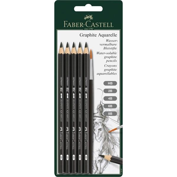 Akvarellpennset Faber-Castell Graphite Aquarelle 5 olika + pensel