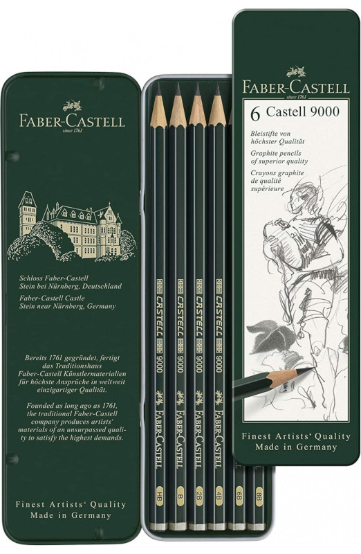 Blyertset  Faber-Castell 9000 6 pennor (5F)