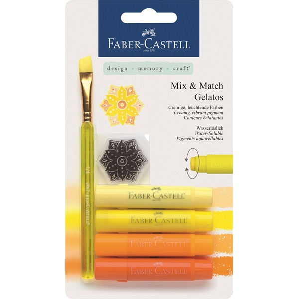 Krita Gelatos Faber-Castell Yellows 4 kritor, pensel & stämpel (5F) #