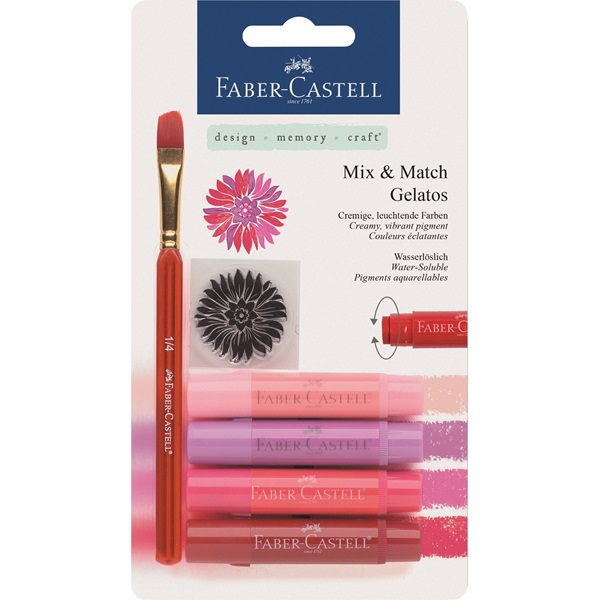 Krita Gelatos Faber-Castell Reds 4 kritor, pensel & stämpel  (5F)