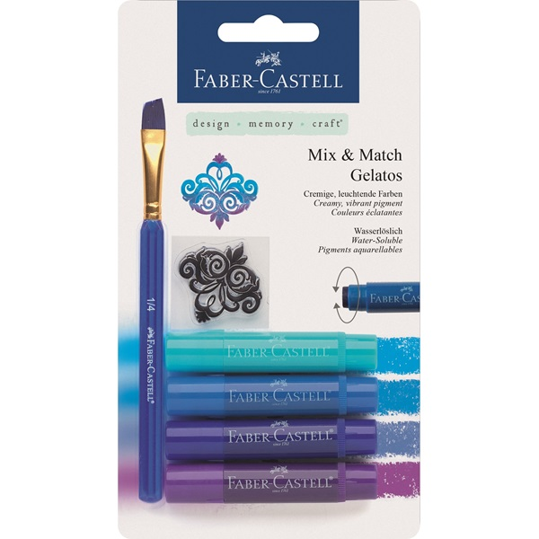 Krita Gelatos Faber-Castell Blues 4 kritor, pensel & stämpel  (5F) #