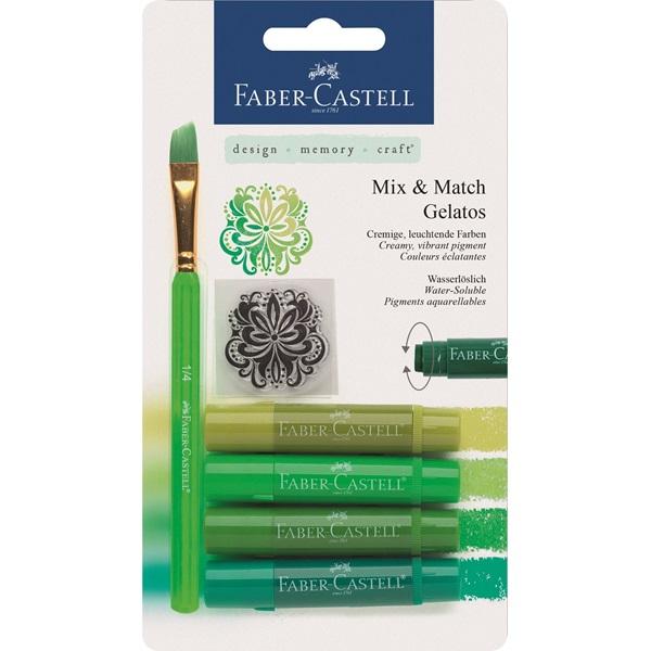 Krita Gelatos Faber-Castell Greens 4 kritor, pensel & stämpel  (5F) #