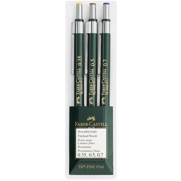 Stiftpennset Faber-Castell Mechanical pencil TK-FINE wallet of 3: 0,35 0,5 0,7