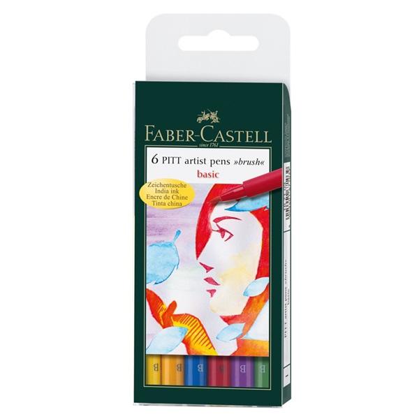 Ritpenna Faber-Castell PITT Artist Basic set 6 pennor (5F)