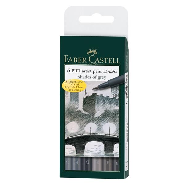 Ritpenna Faber-Castell PITT Artist Shades of Grey set 6 pennor (5F)