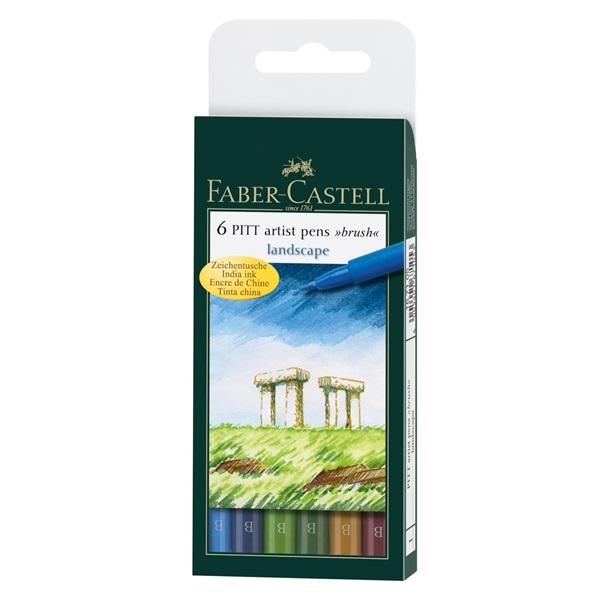 Ritpenna Faber-Castell PITT Artist Landscape set 6 pennor (5F)