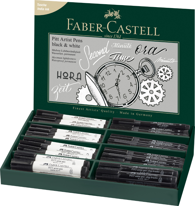 Ritpennset Faber-Castell PITT Artist Black & White display 68 pennor