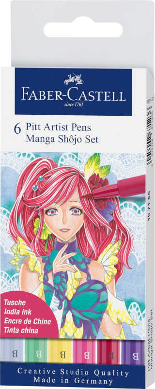 Ritpennset Faber-Castell Pitt Artist Manga 6 pennor Shôjo (5F)