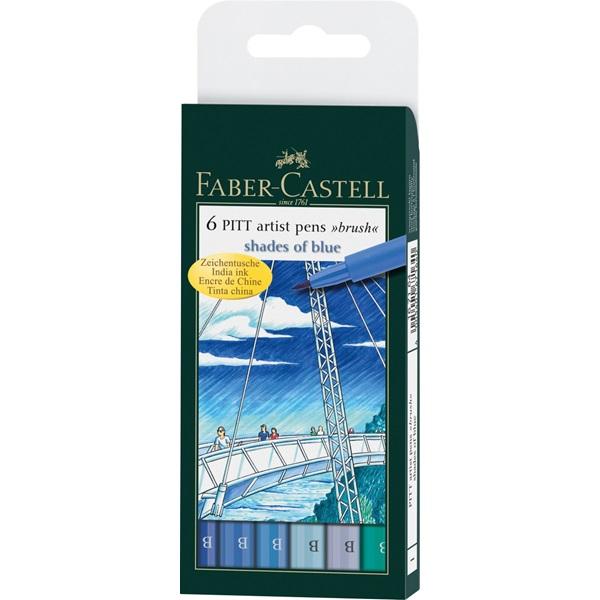 Ritpenna Faber-Castell PITT Artist Shades of blues set 6 pennor (5F)