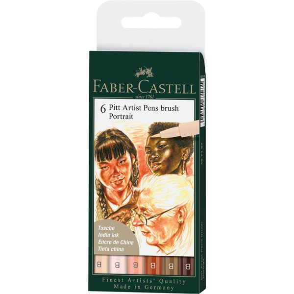 Ritpenna Faber-Castell PITT Artist Brush Portrait set 6 pennor (5F)