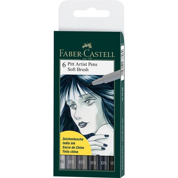 Ritpennset Faber-Castell PITT Artist Soft Brush  6sort greys (5F)