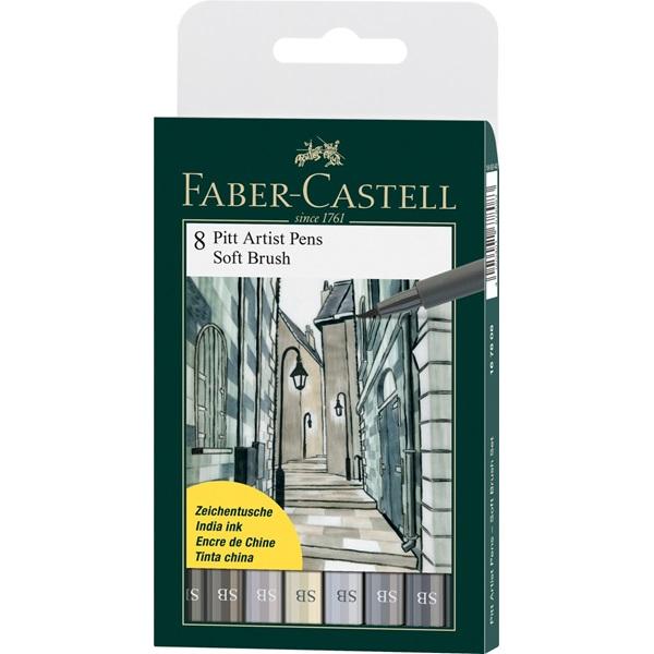 Ritpennset Faber-Castell PITT Artist Soft Brush  8sort greys (5F)
