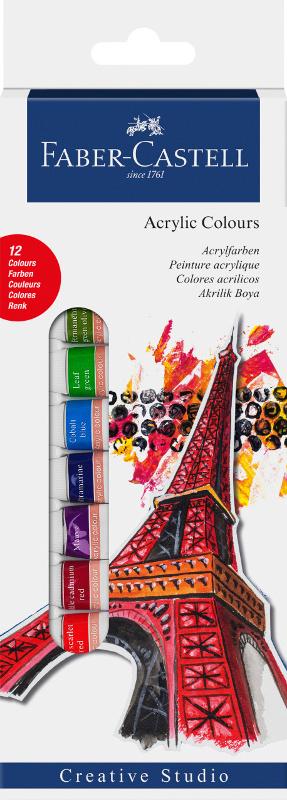 Akrylfärgset Faber-Castell 12 sorterade färger 14ml